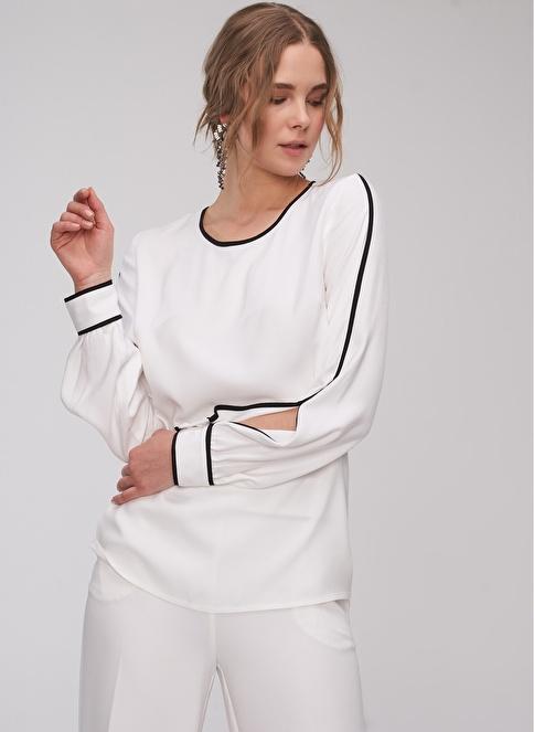 People By Fabrika Biye Detaylı Bluz Beyaz